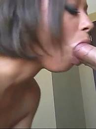 Pretty skilful slutie licks and sucks dick until gets her face spunked.