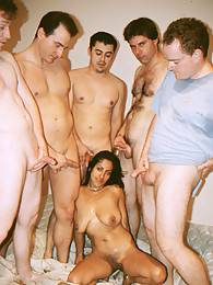 Lucky bitch indian gets pussy gangbang penetration