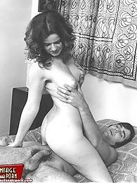 Hairy sixties ladies enjoy cock inside their furry slit