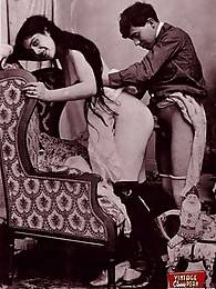 Sensual vintage couples having dirty sex in the twenties