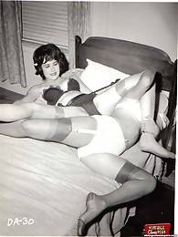 Crazy and vintage lesbians wrestling party from the fifties
