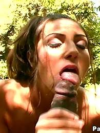 White bigtit brunette gives blowjob to a black man