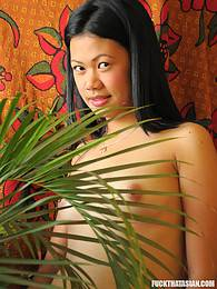 Shy Asian cutiepie strips down completely naked and shows it all