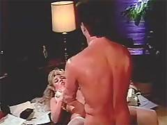 Retro blonde lady receiving cumshot on her tight pooper