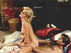 Retro hairy blonde riding the cock for cum in sleepingroom