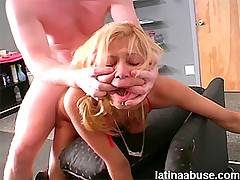 Filling her spanish holes and covering her face in cum