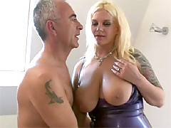 Filthy big Breasted bimbo gets cock and cum on her tits