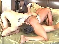 Cute fallow jerks while hot looking muscled bi-guy attacks pretty babe.