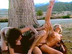 Horny classic threesome porn action in the Rocky Mountains