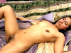 Pretty babe with hairy cunt gets banged and cummed