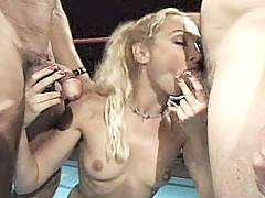 Two lovely blondes getting their pussy gangbang