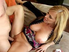 Hot MILF slammed with dick before getting hot load spurted all over her big tits