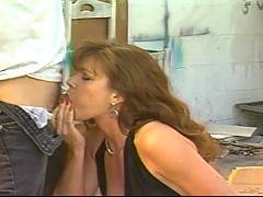 Retro footage of a horny couple doing the sixty nine thing