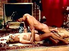 Hot retro hairy blonde housewife fucked by hub on the floor