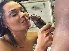 A Latina MILF gets filled up with ebony cock in these