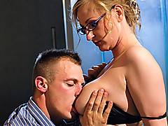 Mature slut with big tits fucking young guy