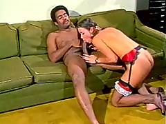 Retro hairy lady goes anal on massive throbbing afro cock