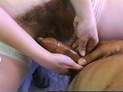 A naughty nurse gets her hairy pussy fucked in retro action