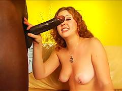 Redheaded Cherry Poppens Gags On A Long Black Cock For The First Time