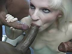 Tiny Blonde Cheerleader Interracial Gangbangxxx