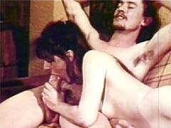 Hairy retro hippie loves to handle a cock inside her twat