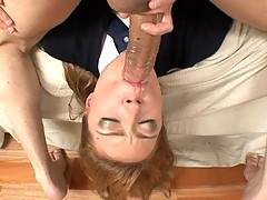 Ellie Foxx gaggin on huge cock pushing down throat